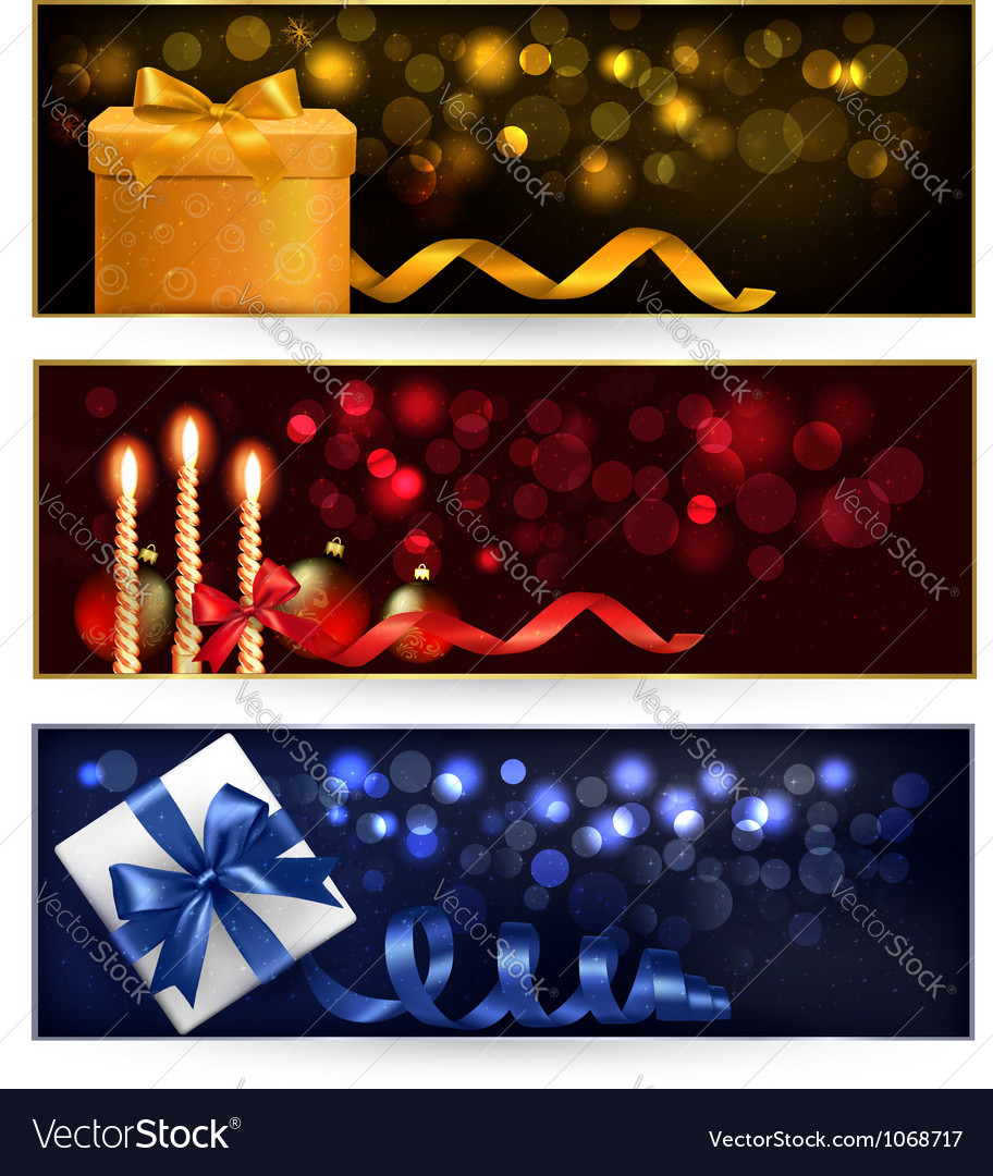 Set of winter christmas banners with gift boxes vector | Price: 1 Credit (USD $1)