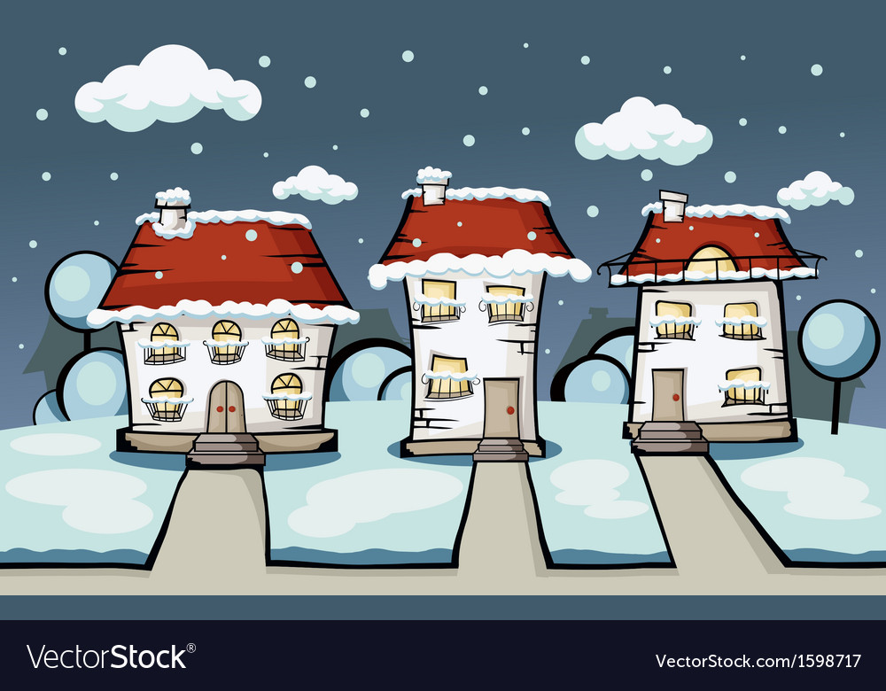 Three winter house vector | Price: 1 Credit (USD $1)