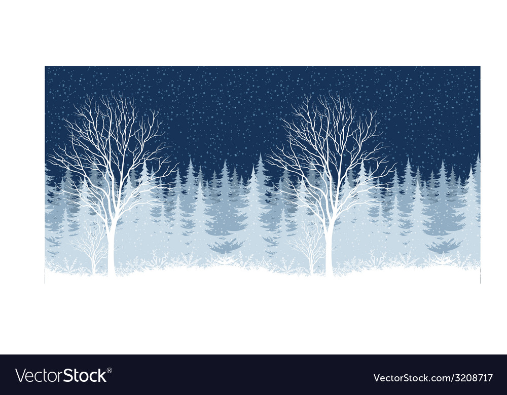 Winter christmas landscape with tree vector | Price: 1 Credit (USD $1)