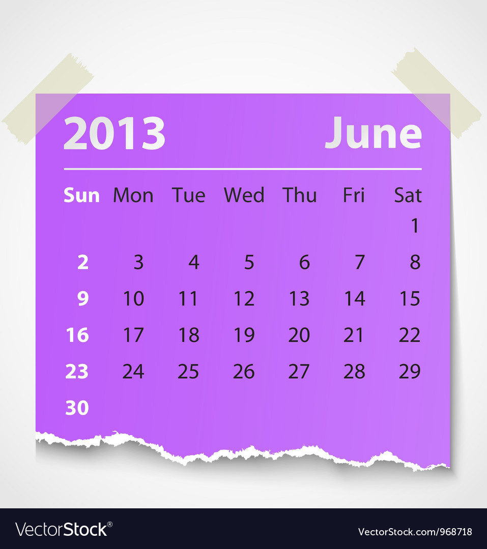 2013 calendar june colorful torn paper vector | Price: 1 Credit (USD $1)