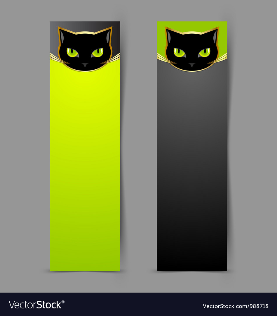 Black cat head banners vector | Price: 1 Credit (USD $1)