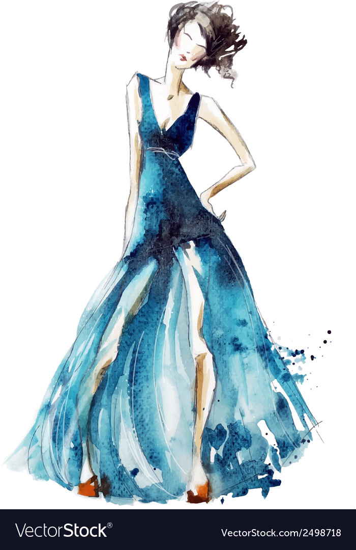 Blue dress fashion vector | Price: 1 Credit (USD $1)