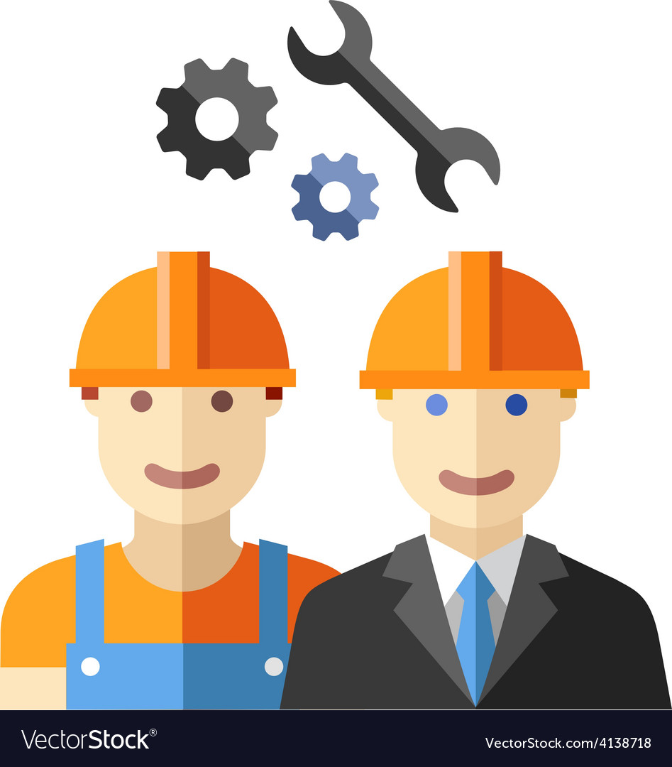 Construction worker flat avatar set vector | Price: 1 Credit (USD $1)