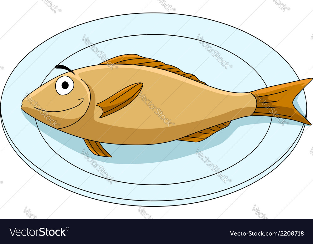 Fish on a platter vector | Price: 1 Credit (USD $1)