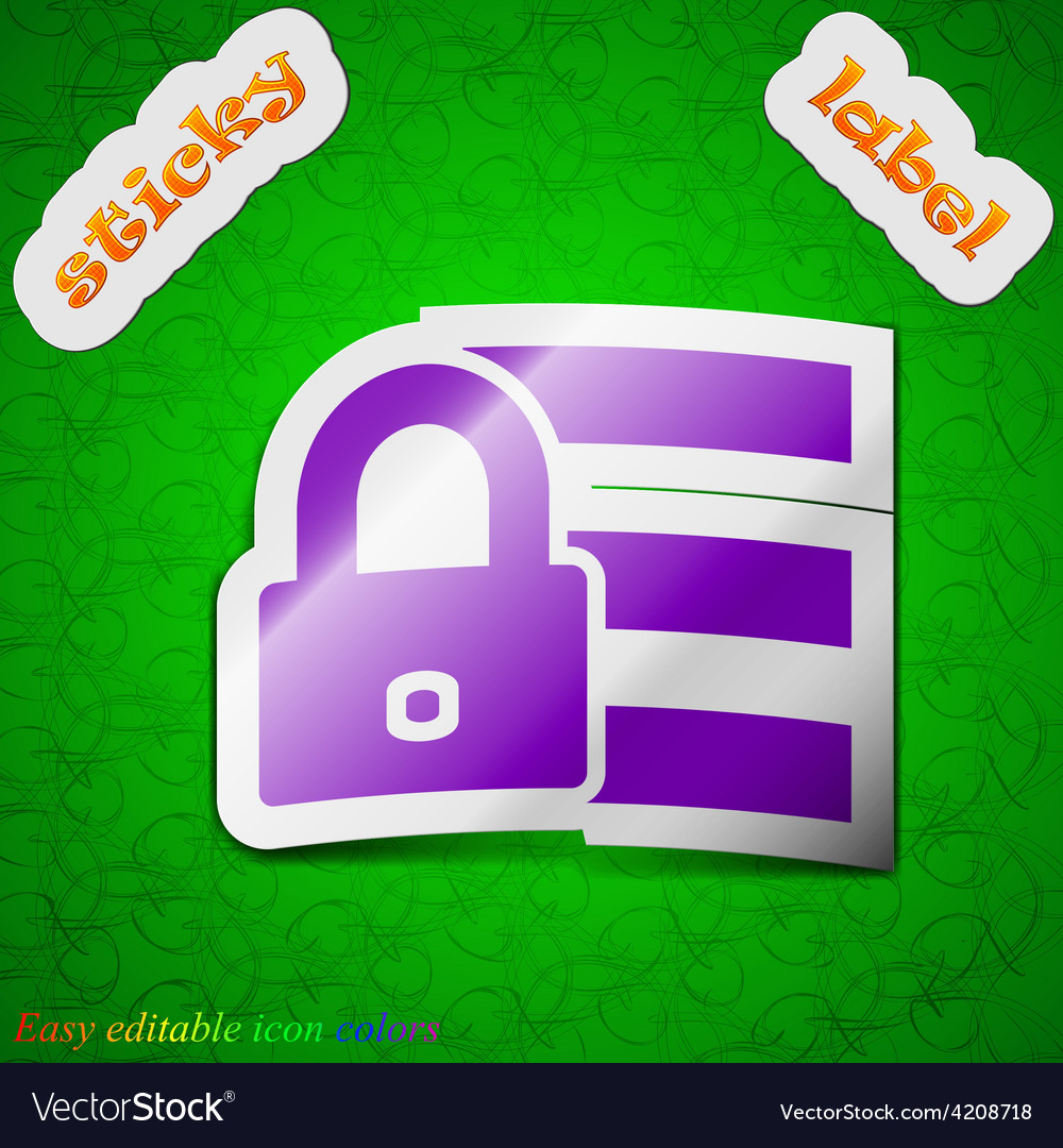 Lock login icon sign symbol chic colored sticky vector | Price: 1 Credit (USD $1)