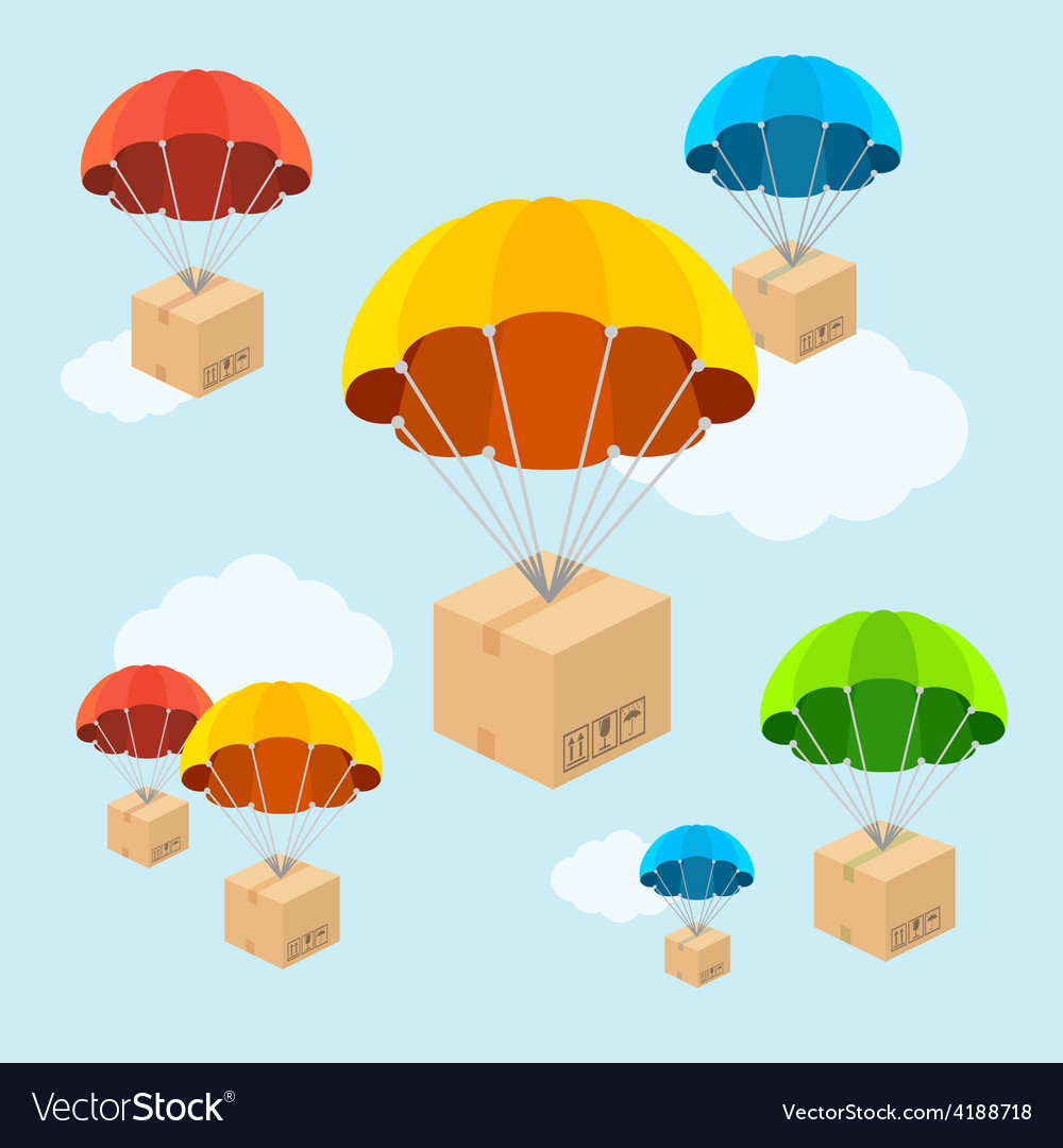 Parachute fly with clouds flat design vector