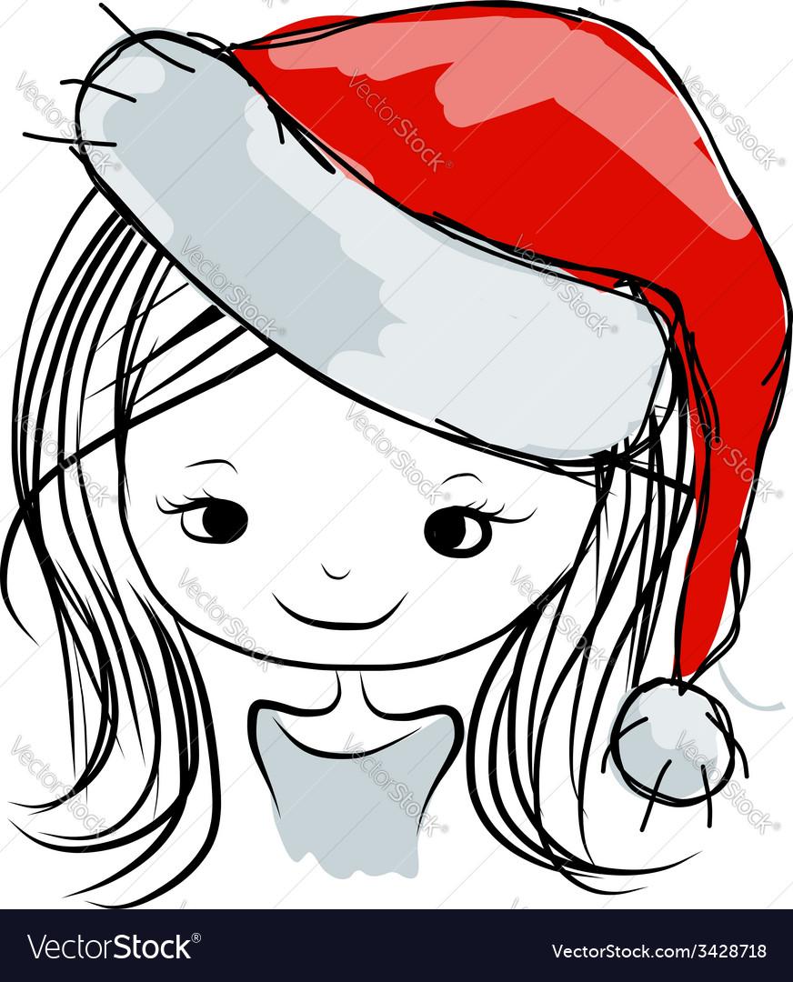 Santa girl portrait sketch for your design vector | Price: 1 Credit (USD $1)