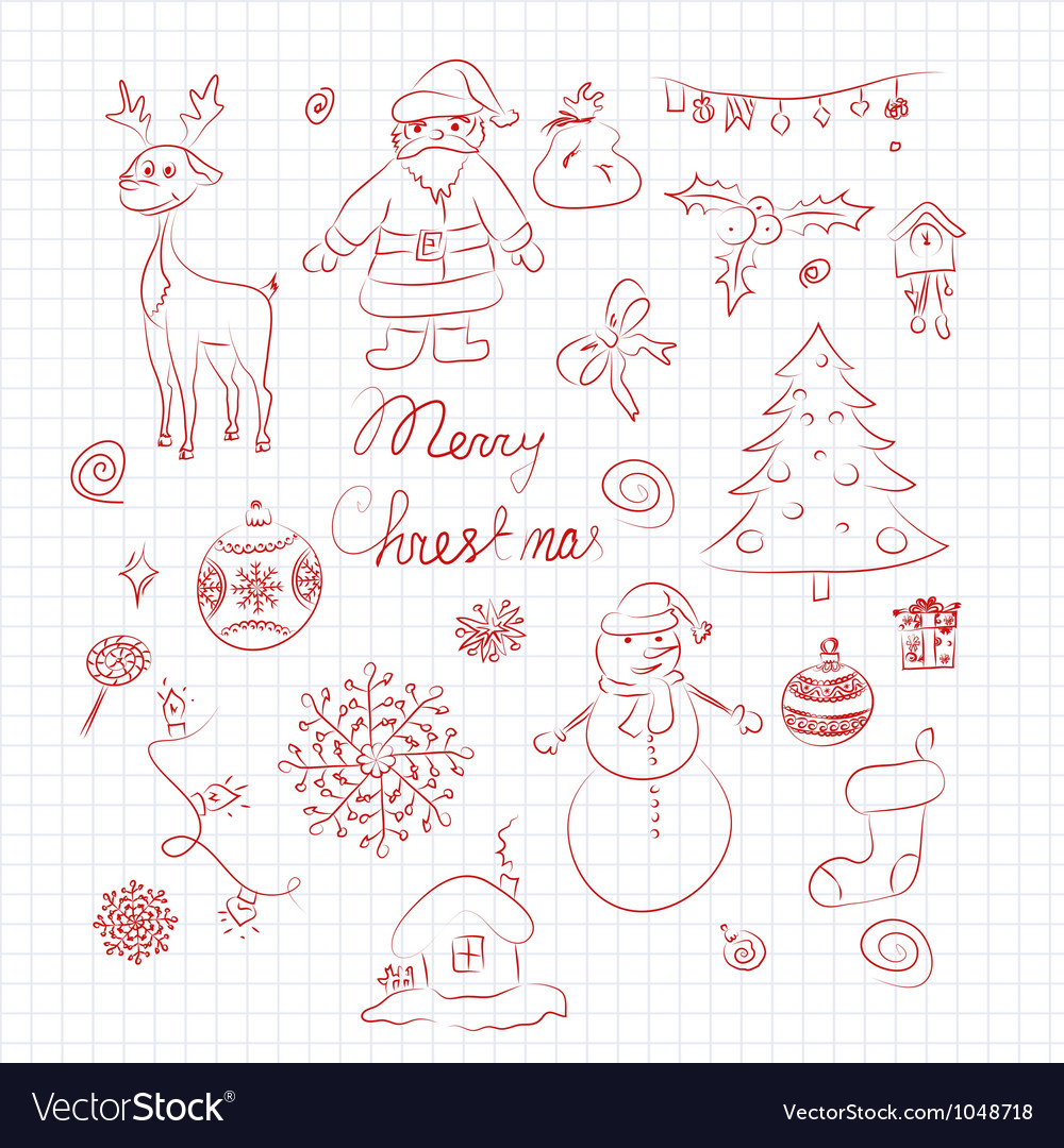 Set of christmas elements vector | Price: 1 Credit (USD $1)
