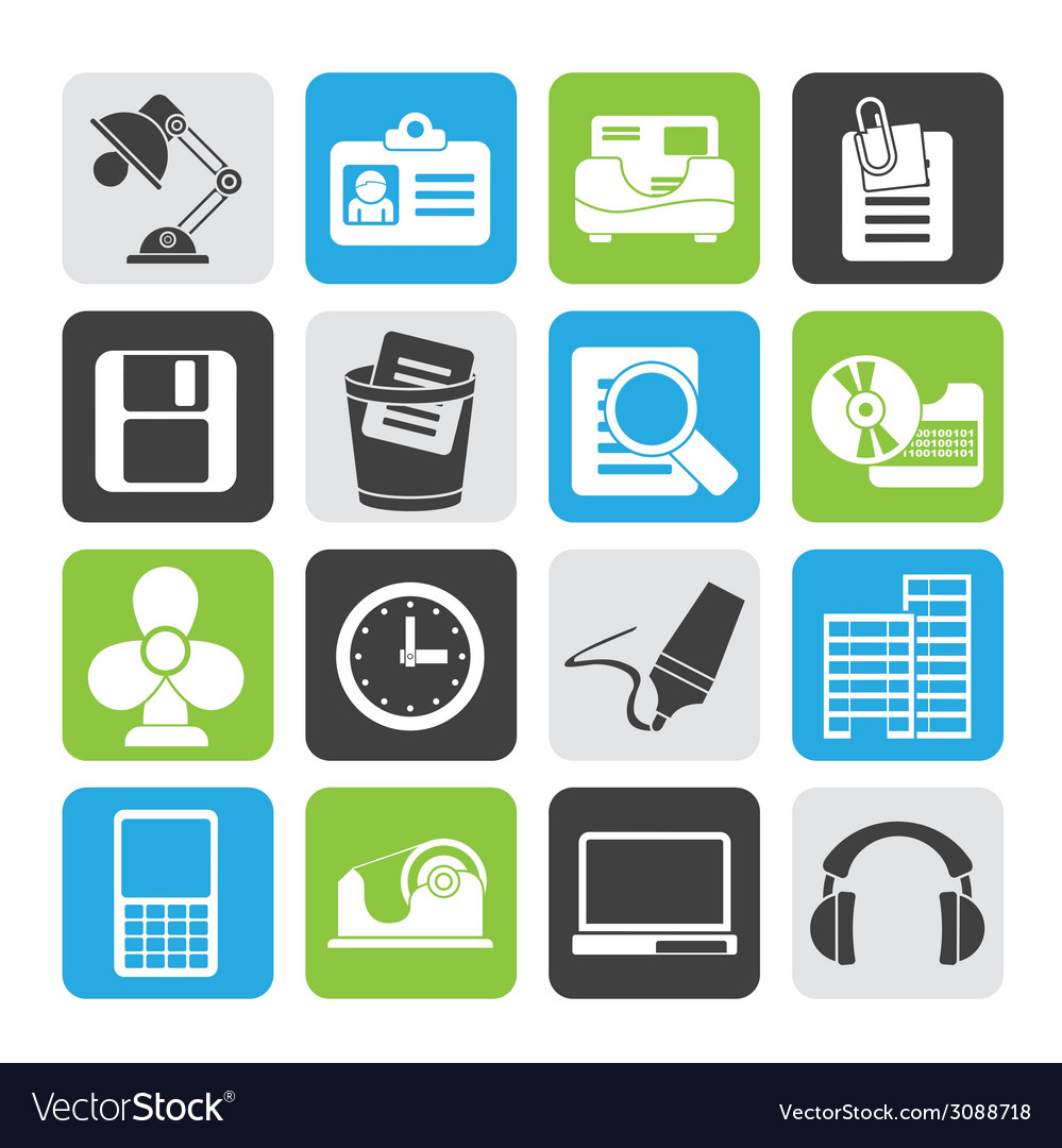 Silhouette office and business icons vector | Price: 1 Credit (USD $1)