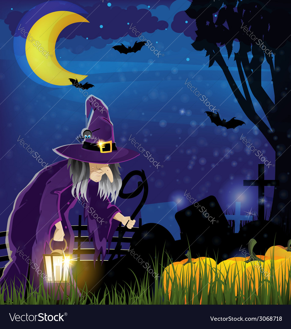 Wicked witch and pile of pumpkins vector | Price: 3 Credit (USD $3)