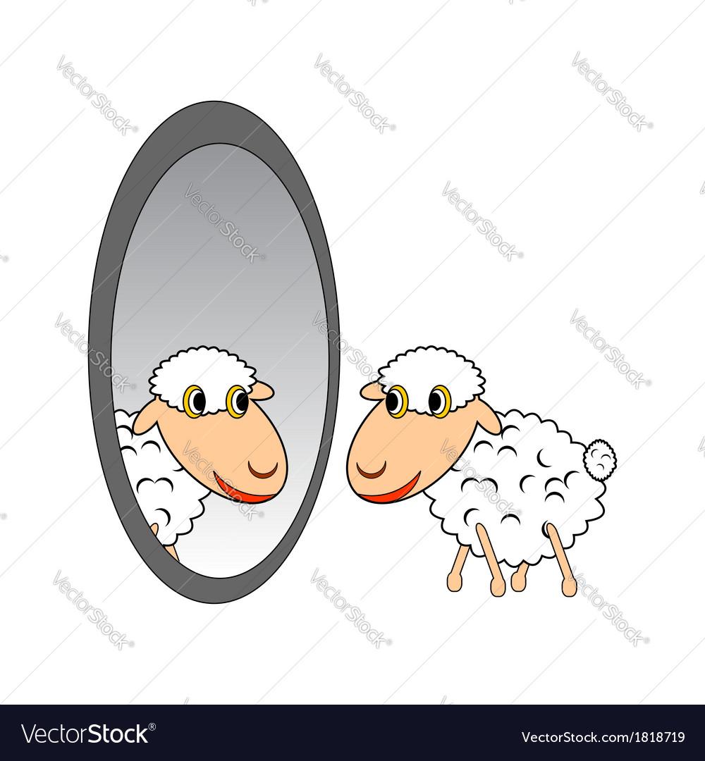 A funny cartoon sheep looking in a mirror vector | Price: 1 Credit (USD $1)
