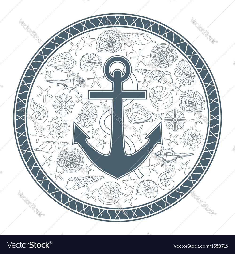 Anchor and seashells vector | Price: 3 Credit (USD $3)