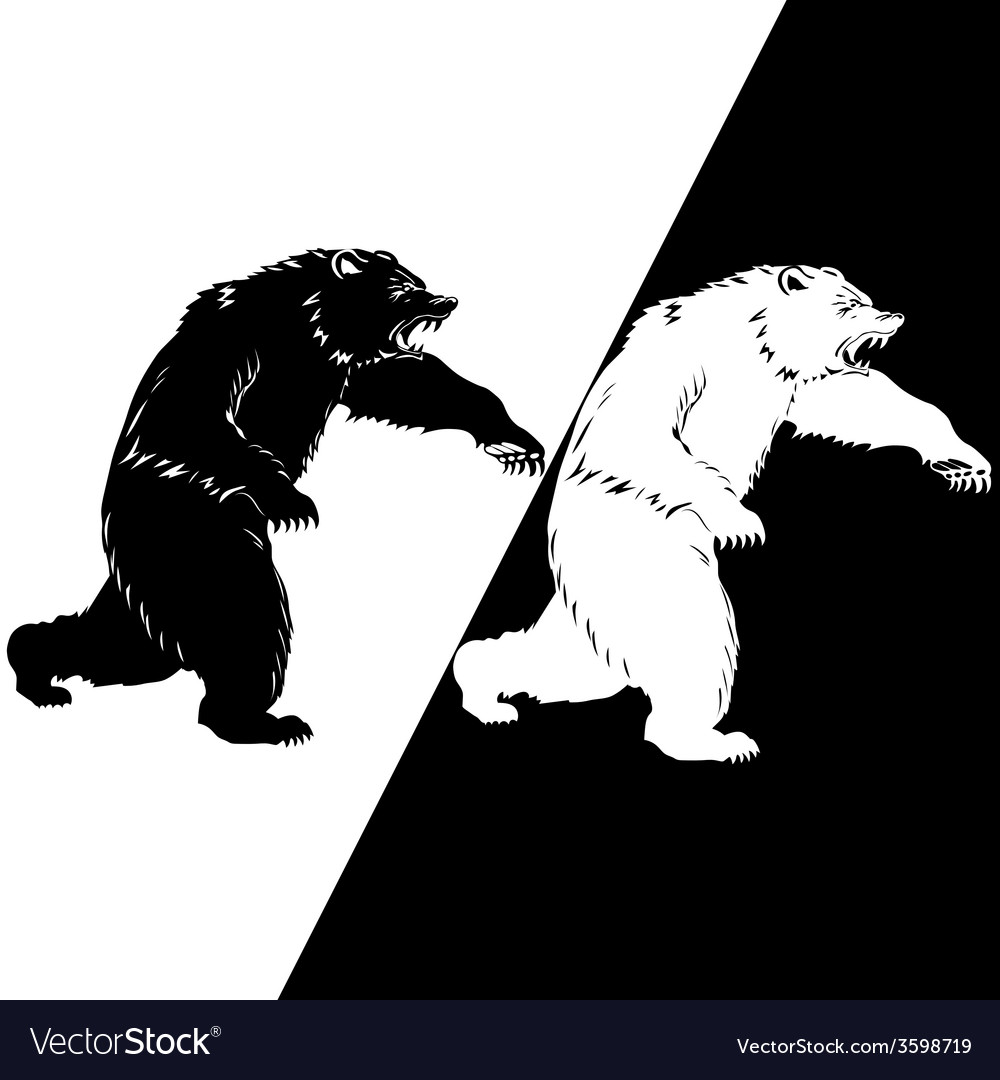Bear silhouette black and white vector | Price: 1 Credit (USD $1)