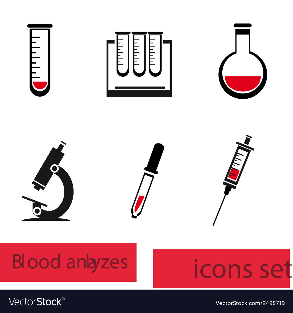 Blood analysis medical icon set vector | Price: 1 Credit (USD $1)