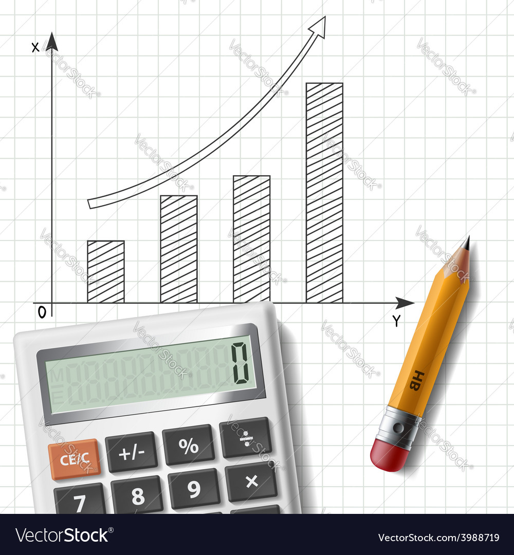 Calculator pencil and graph on notebook sheet vector | Price: 1 Credit (USD $1)