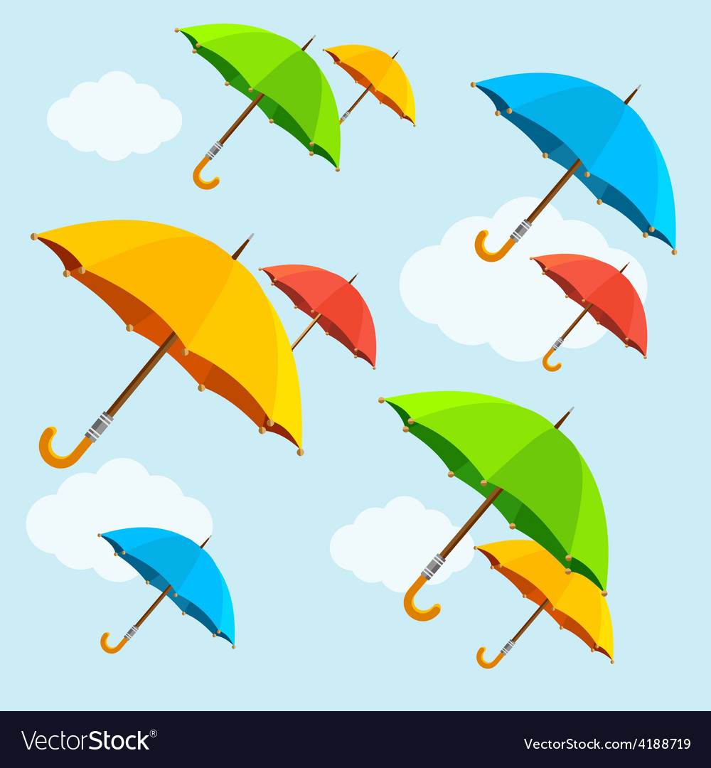 Colorful umbrellas fly with clouds flat vector | Price: 1 Credit (USD $1)