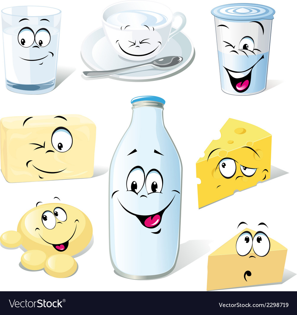 Dairy product cartoon - milk cheeses butter and vector | Price: 1 Credit (USD $1)