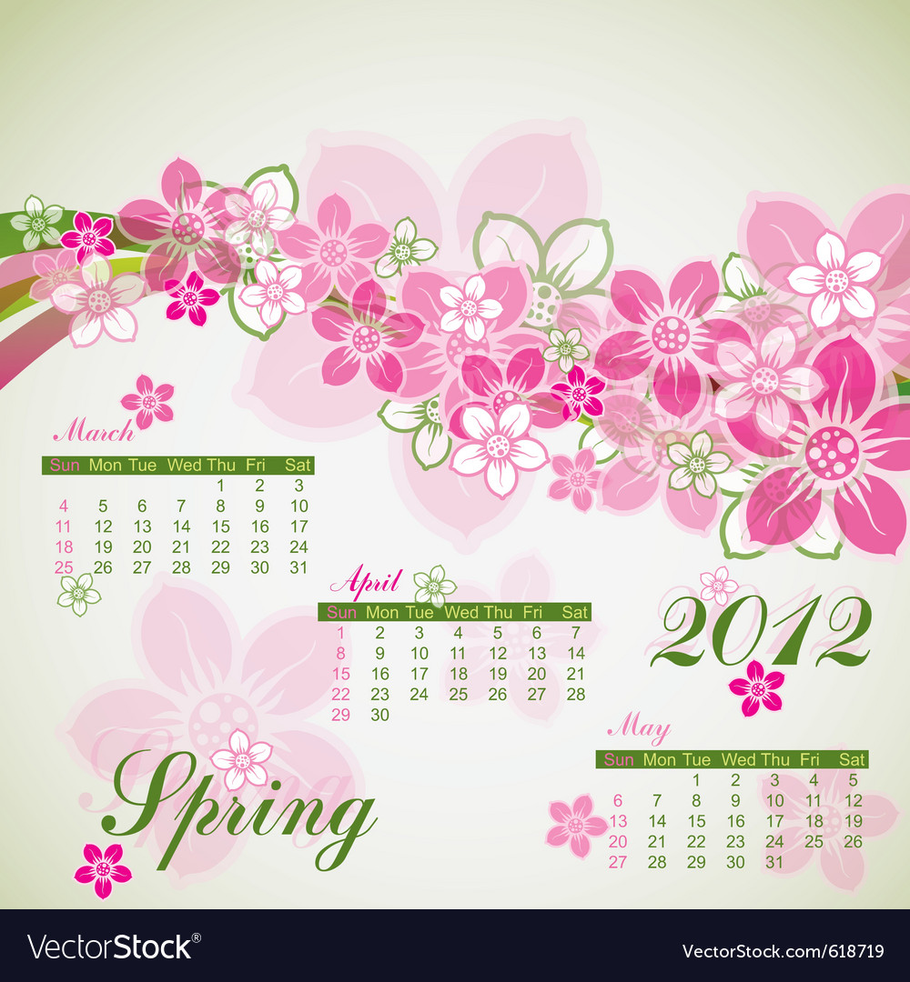 Floral spring calendar 2012 vector | Price: 1 Credit (USD $1)