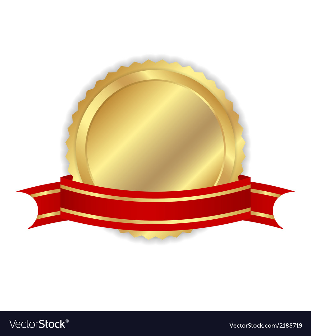 Golden label with ribbon vector | Price: 1 Credit (USD $1)