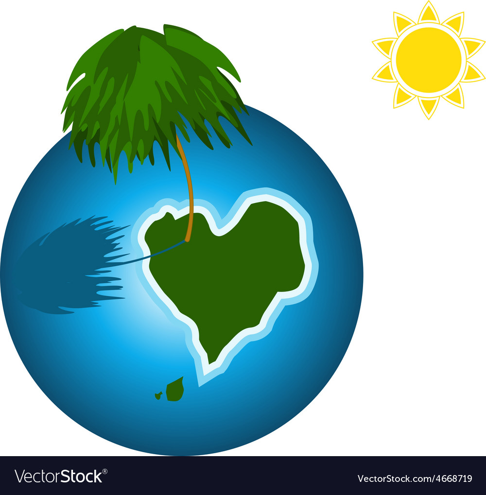 Love island on the earth vector | Price: 1 Credit (USD $1)