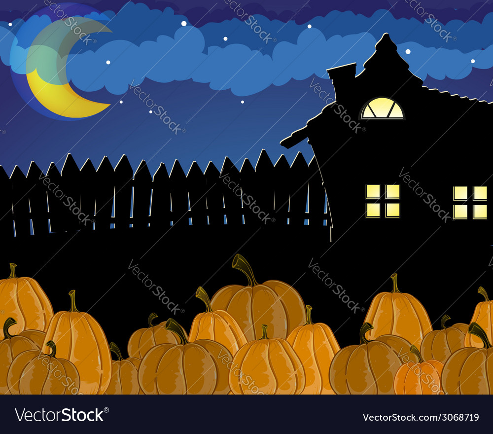 Pumpkins and house with glowing windows vector | Price: 1 Credit (USD $1)