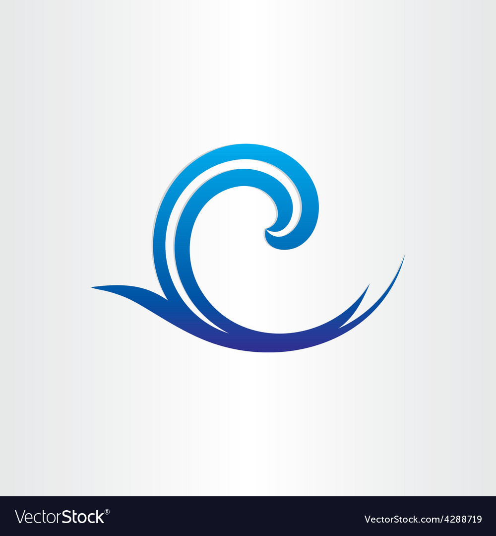 Sea or ocean blue wave abstract icon vector | Price: 1 Credit (USD $1)