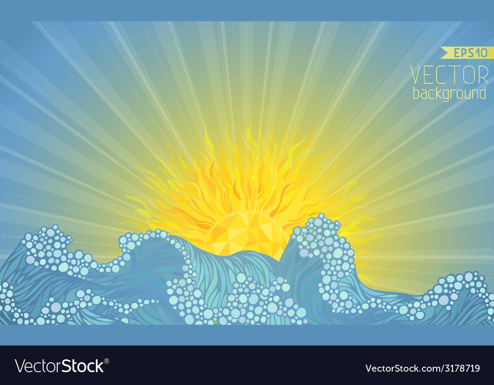 Sun and waves vector | Price: 1 Credit (USD $1)