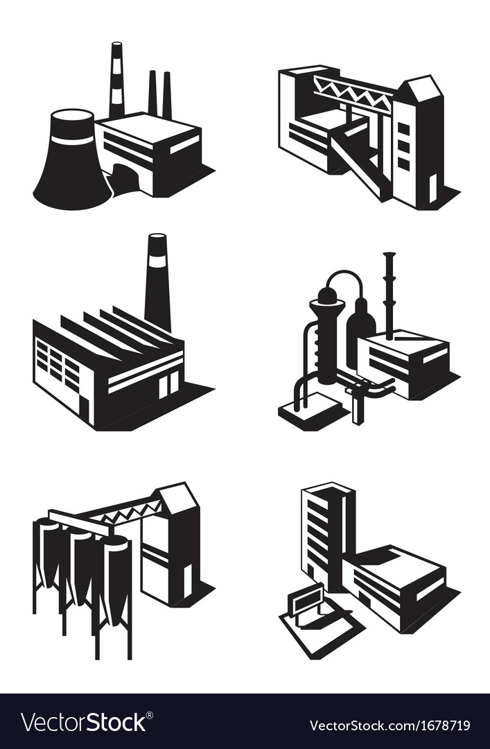 Types of industrial construction vector | Price: 1 Credit (USD $1)