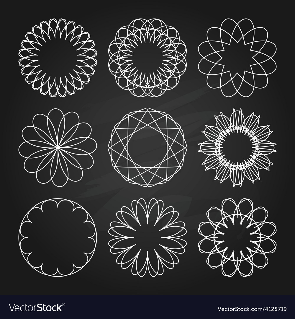 White ornaments set in chalkboard style vector | Price: 1 Credit (USD $1)