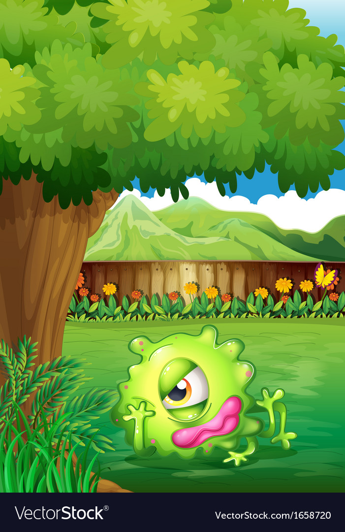 A yard with a monster resting under the tree vector | Price: 3 Credit (USD $3)