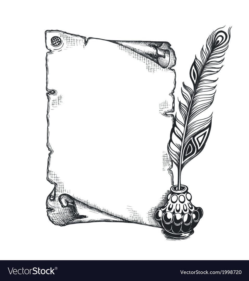 Beauty feather and blank scroll quill pen inkwell vector   Price: 1 Credit (USD $1)