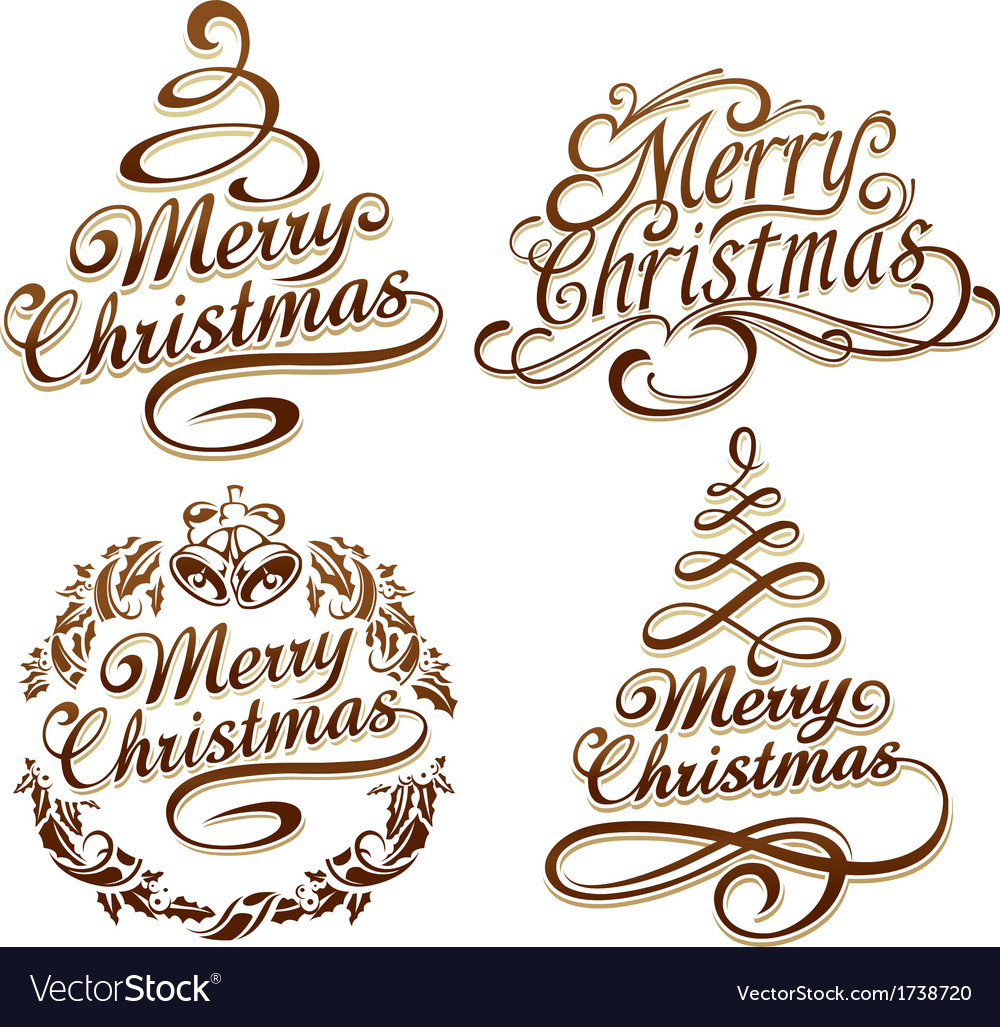 Christmas typography set vector | Price: 1 Credit (USD $1)