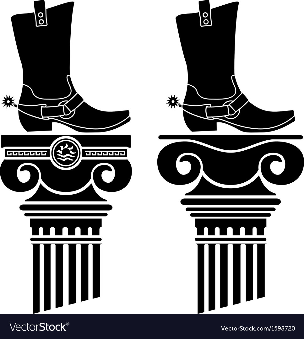 Columns and boots with spurs stencils vector | Price: 1 Credit (USD $1)