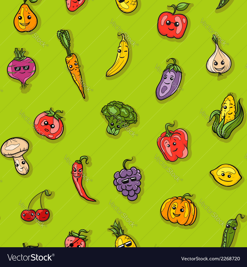 Fruits and vegetables pattern vector | Price: 1 Credit (USD $1)