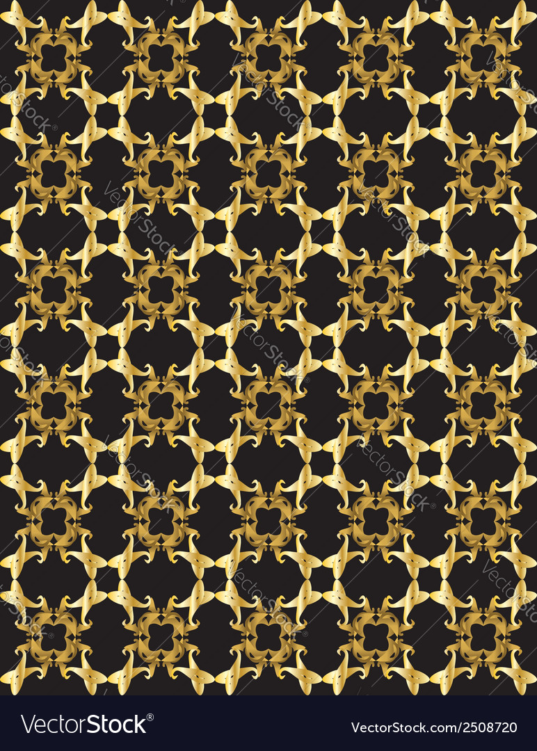 Gold pattern on black background 1 vector | Price: 1 Credit (USD $1)