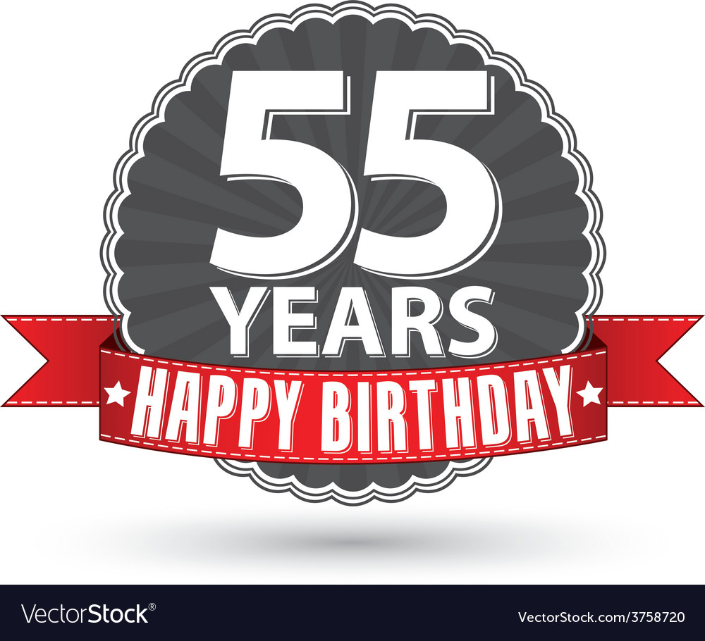 Happy birthday 55 years retro label with red vector | Price: 1 Credit (USD $1)