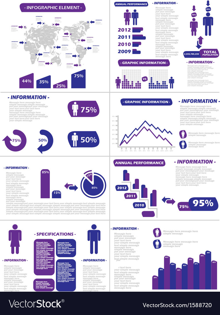 Infographic demographics new style purple vector | Price: 1 Credit (USD $1)