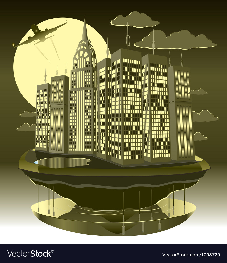 Modern city night vector | Price: 5 Credit (USD $5)