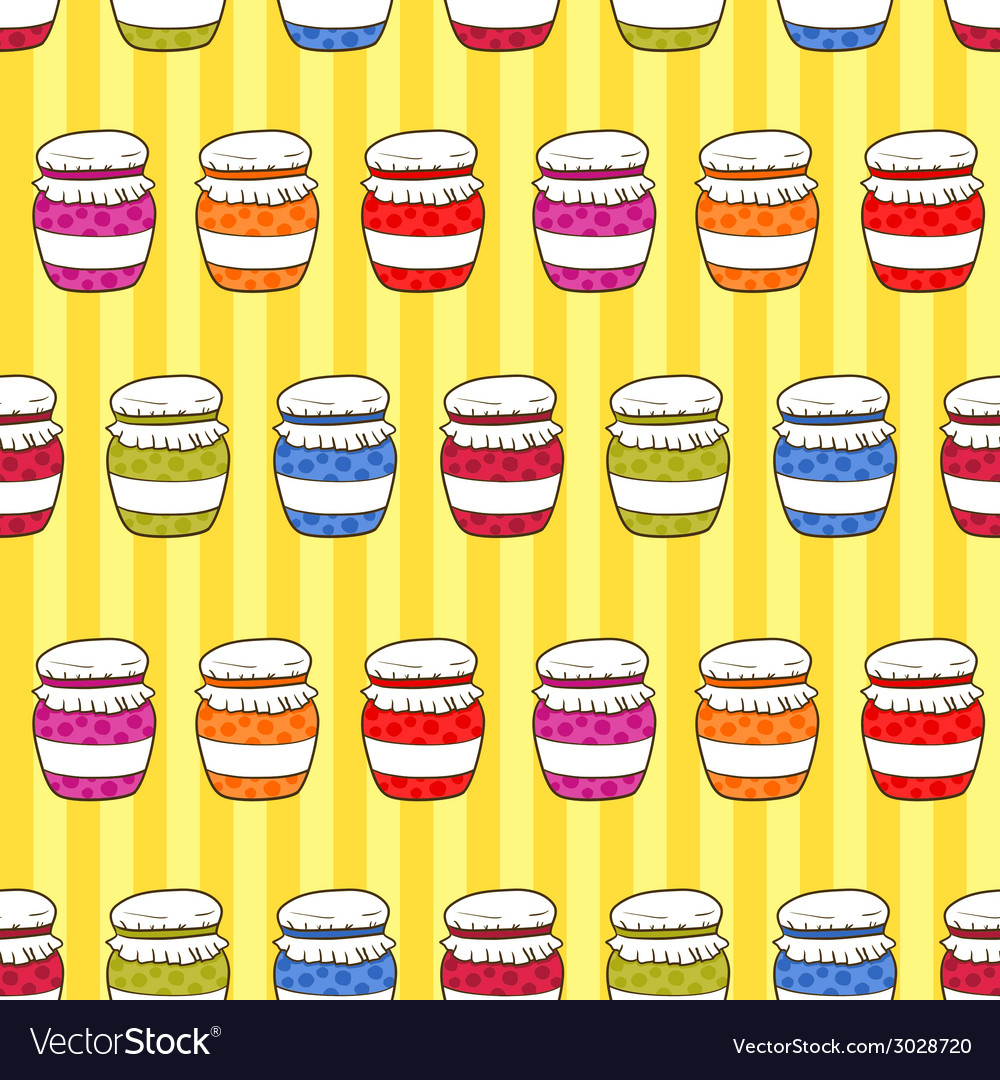 Seamless pattern colorful jars with jam in doodle vector | Price: 1 Credit (USD $1)
