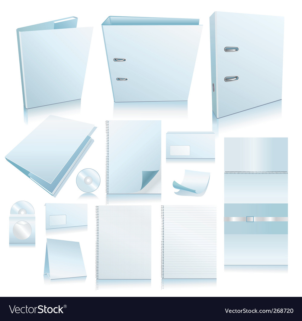 Set of office elements realis vector | Price: 1 Credit (USD $1)