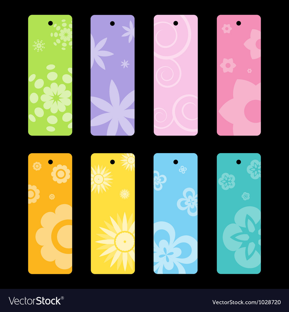 Spring flower pattern bookmarks vector | Price: 1 Credit (USD $1)