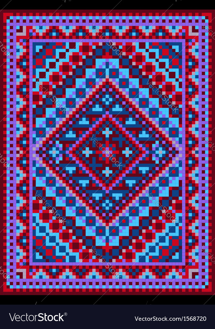 Vivid carpet old style in blue and purple shades vector | Price: 1 Credit (USD $1)