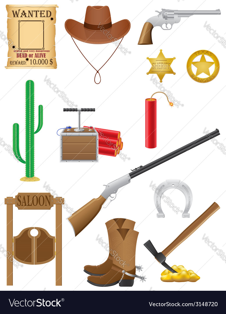 Western set icons wild west vector | Price: 1 Credit (USD $1)