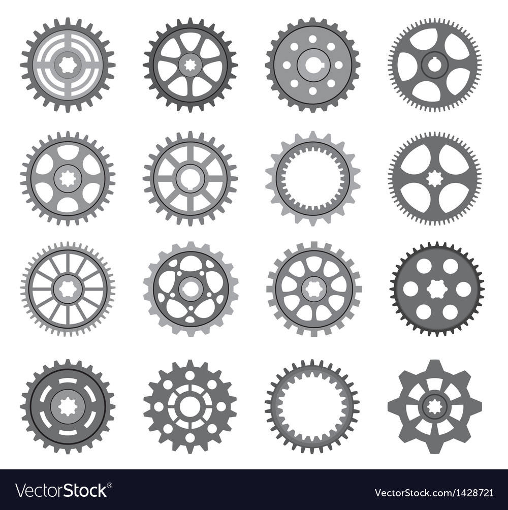 A set of gears and pinions on a white background vector | Price: 1 Credit (USD $1)