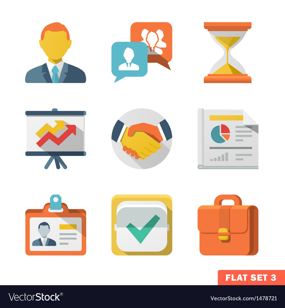 Business flat icon set vector | Price: 3 Credit (USD $3)