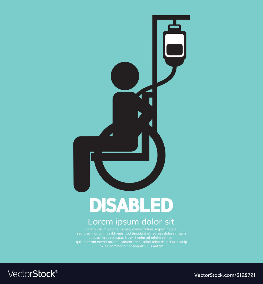 Disabled sickness sign vector | Price: 1 Credit (USD $1)