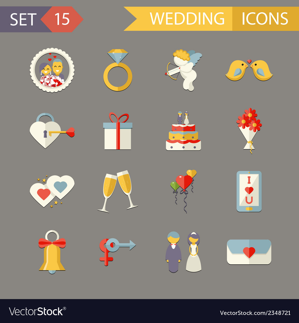 Flat wedding symbols bride groom marriage vector | Price: 1 Credit (USD $1)