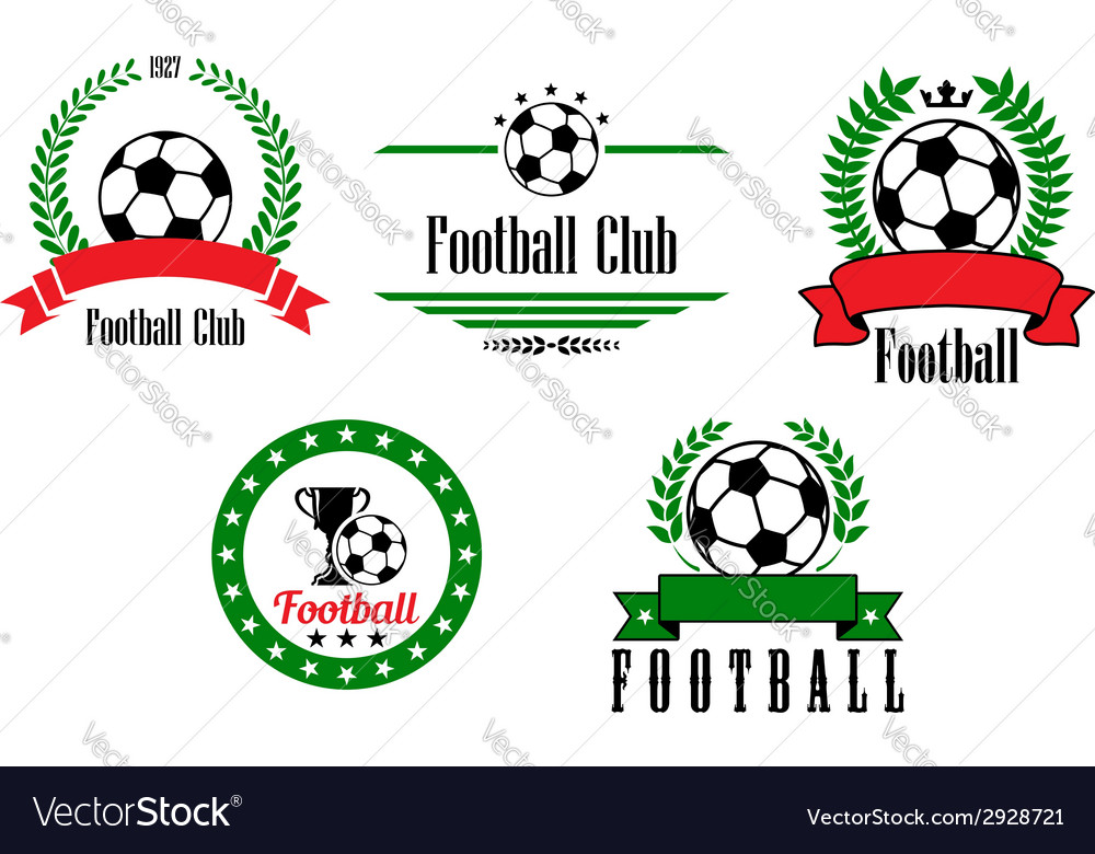 Football or soccer emblems and badges set vector | Price: 1 Credit (USD $1)