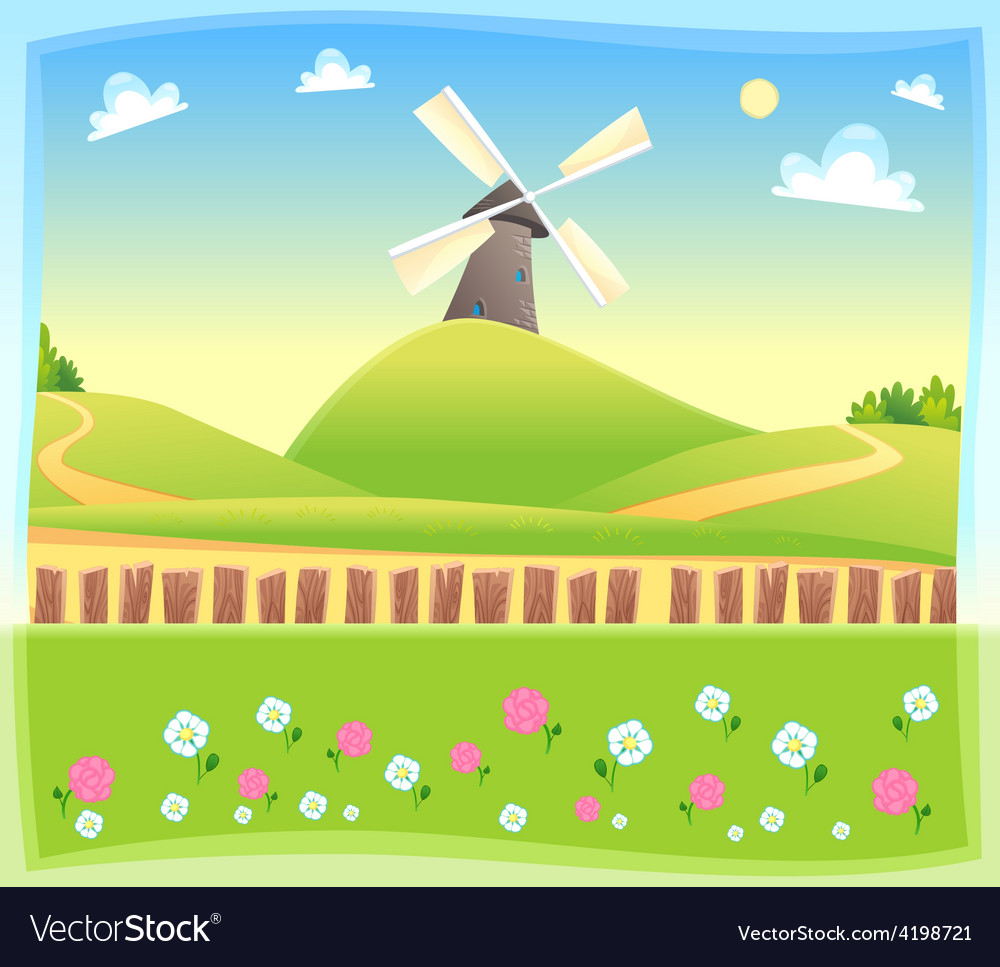 Funny landscape with windmill vector | Price: 3 Credit (USD $3)
