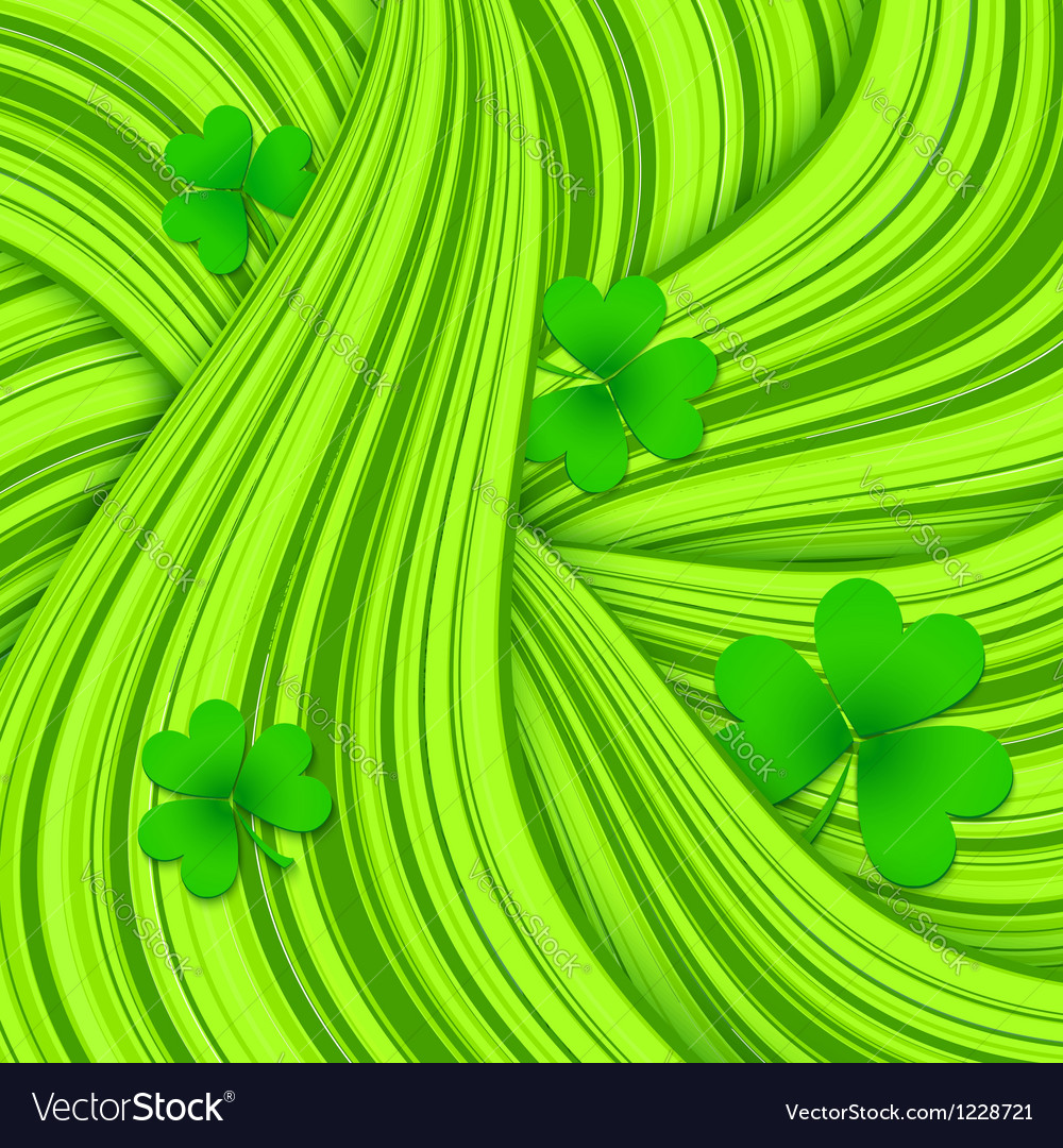 Green hair waves abstract background with clovers vector | Price: 1 Credit (USD $1)